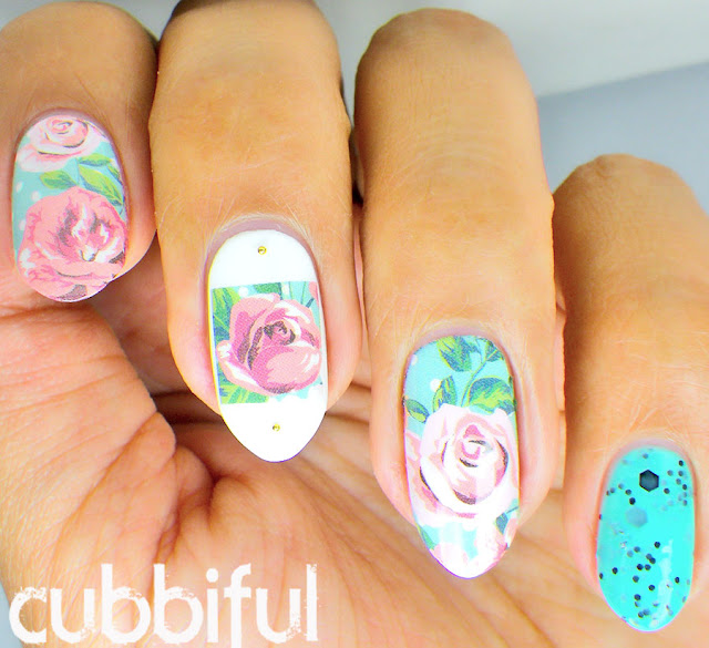 Vintage Rose Waterdecals Nails