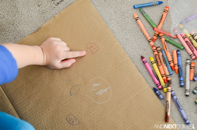 Simple boredom buster process art idea for kids: cardboard box & crayons from And Next Comes L