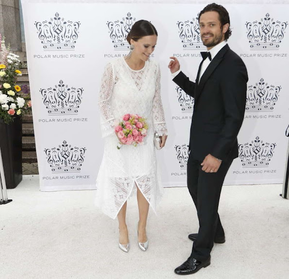 Queen Silvia, Crown Princess Victoria and Prince Daniel, Prince Carl Philip and Princess Sofia of Sweden attend Polar Music Prize 2016. Princess Victoria wore H&M Conscious Exclusive Collection