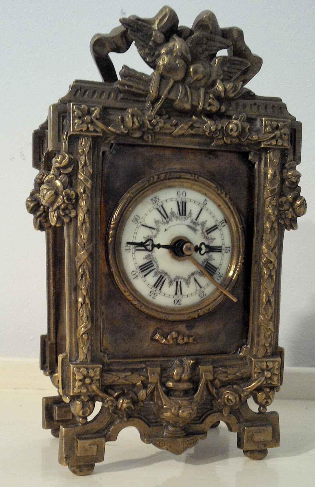 ancien r veil d 39 officier de mari e pendulette en bronze pendule de. Black Bedroom Furniture Sets. Home Design Ideas