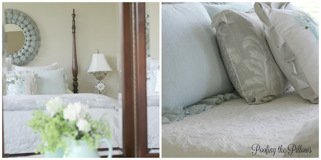 sunny summer home tour, master bedroom, white bedding, 4 poster bed, aqua, white matelasse