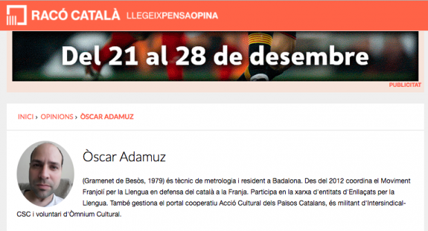 Óscar Adamuz, moviment franjolí, franja, català