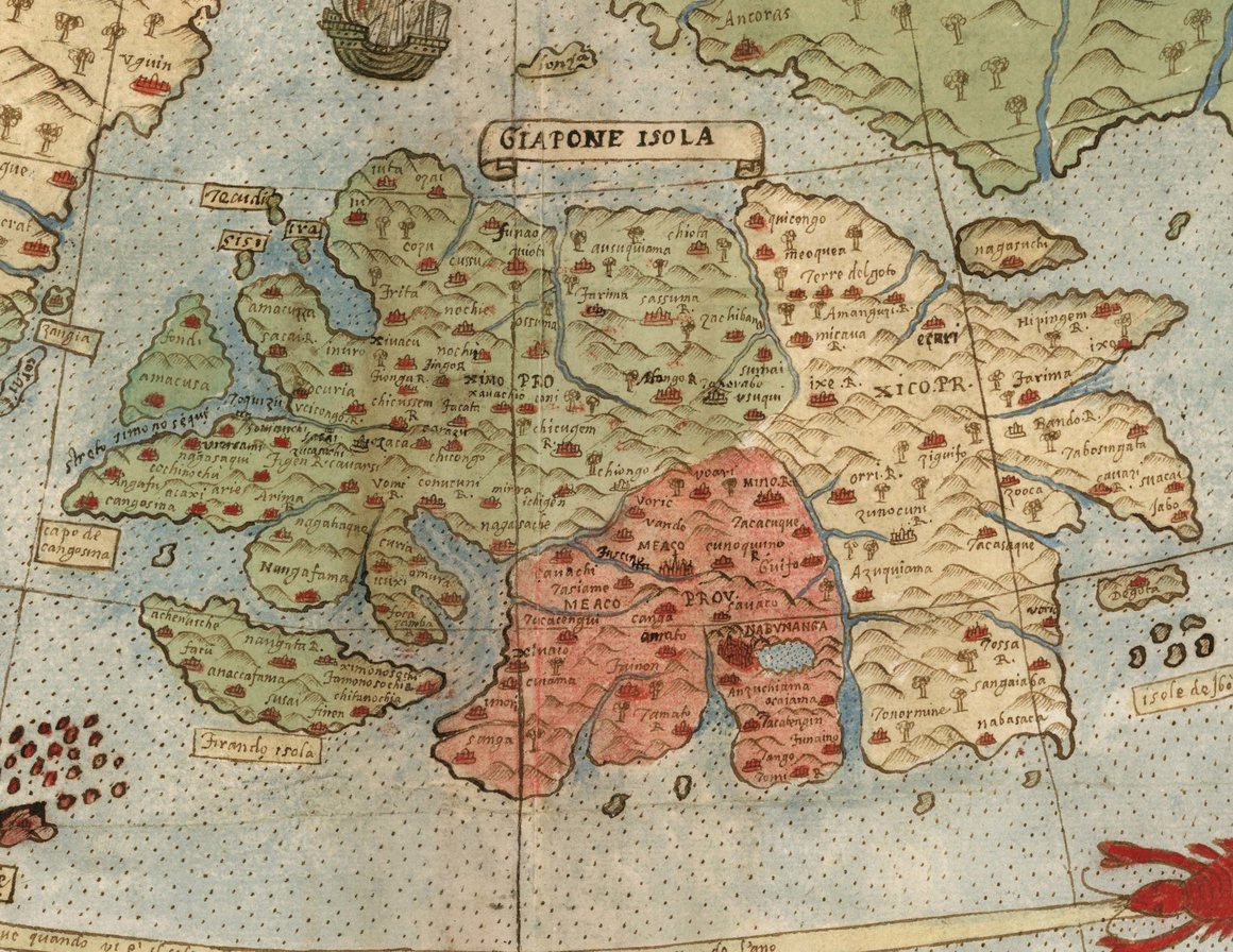 A vast 430 year old world map full of places and creatures real montes depiction of japan probably drawn from information provided by the japanese embassy to milan and italy is advanced for the time gumiabroncs Images