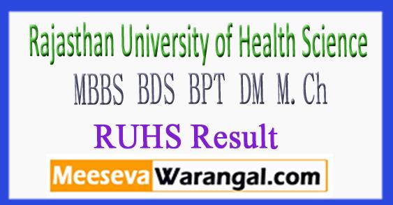 RUHS MBBS BDS BPT DM M.Ch Result 2017