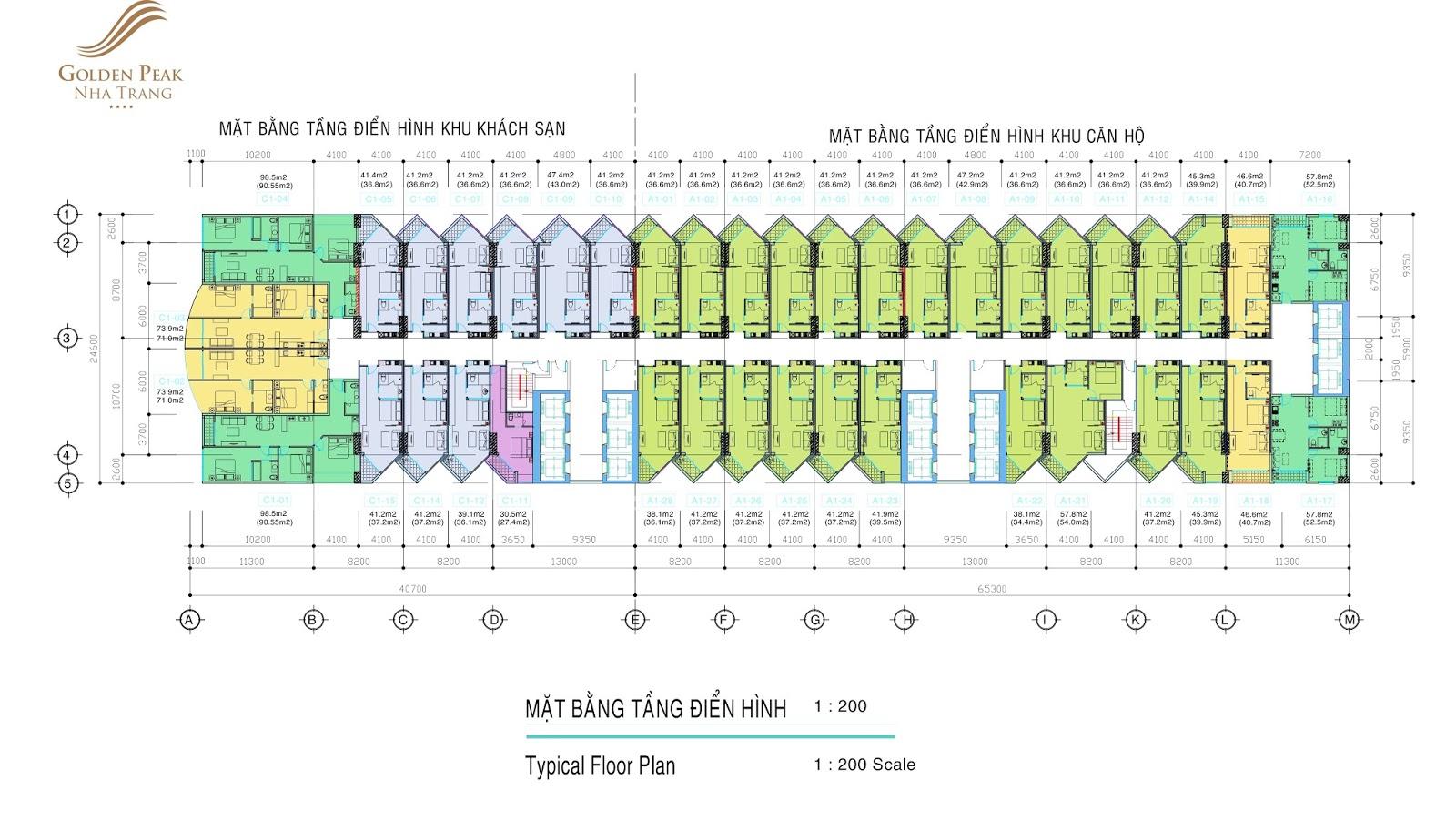 Mặt bằng điển hình dự án Golden Peak Trần Phú