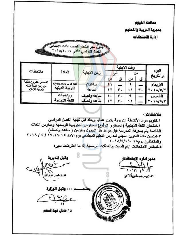 جدول مواعيد امتحانات اخر العام 2018 محافظة الفيوم