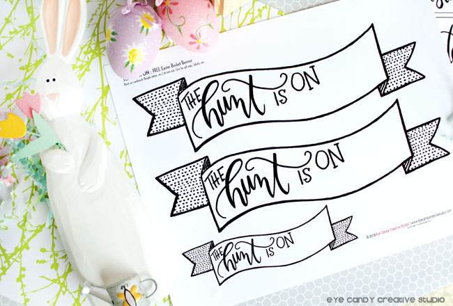 hand lettered, easter basket banner, personalized banners for easter baskets