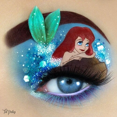 13-Ariel-The-Little-Mermaid-Tal-Peleg-Eye-Make-Up-Art-Drawings-www-designstack-co