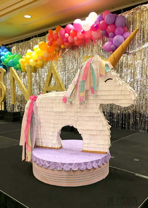 life size unicorn pinata, snap decorations, party decorations