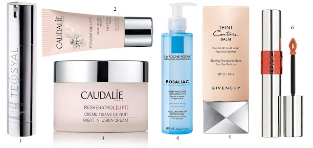 Advanced Filler, Teosyal; Rosaliac, La Roche-Posay; Teint Couture Balm, Givenchy; Tint-in-Oil, Yves Saint Laurent.