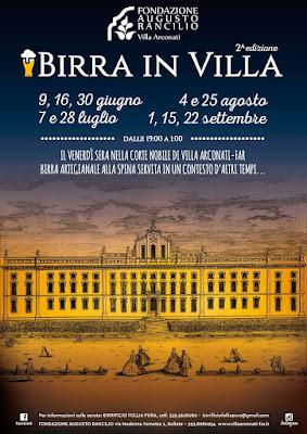 Birra in Villa Arconati 7-28  luglio 4-25 agosto e 1-15-22 settembre Bollate (MI)
