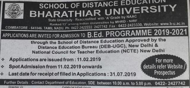 Bharathiar University B.ED Notification For 2019 - 2021