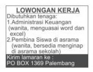 Lowongan Kerja PO BOX 1369