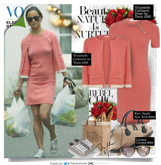 "Get the look Pippa Middleton  VESTIDO: Cashmere by Tania ""Trixiebell"" (Coral) £265.00  CARDIGAN: Cashmere by Tania ""Indi"" Cardigan - Coral £235.00  ZAPATILLAS: Plimsoll Traditional Canvas  £35   BOLSO: Kate Spade New York ""Catherine Street Pippa"" $398  ANTEOJOS DE SOL: Carrera 6000/L in transparent blue $111.95  PENDIENTES: Austique AMETHYST £135.00"