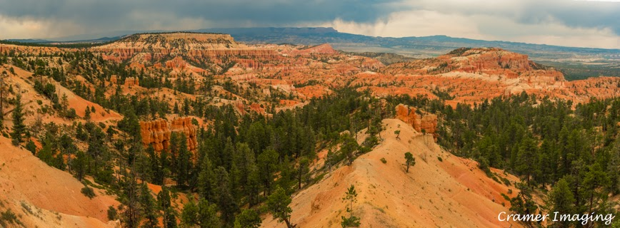 Cramer Imaging's professional quality landscape panorama photograph of the view at Sunrise Point in Bryce Canyon National Park, Utah