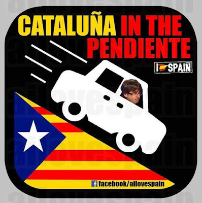 Cataluña in the pendiente,Puigdemont, coche, cuesta abajo, pendiente