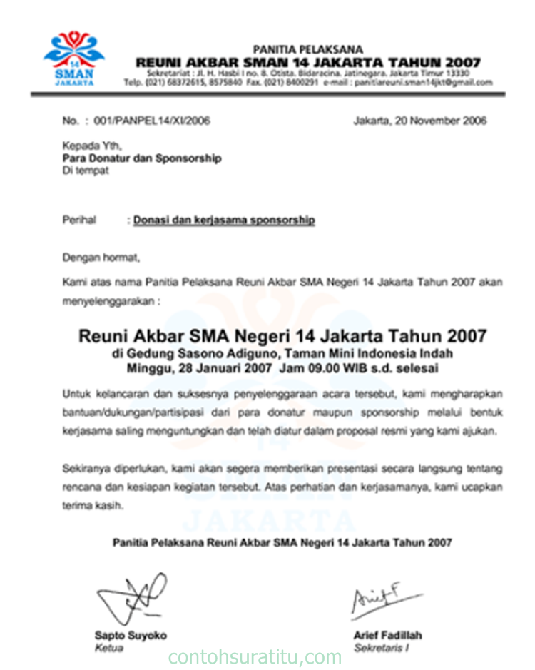 contoh surat balasan resmi yang benar