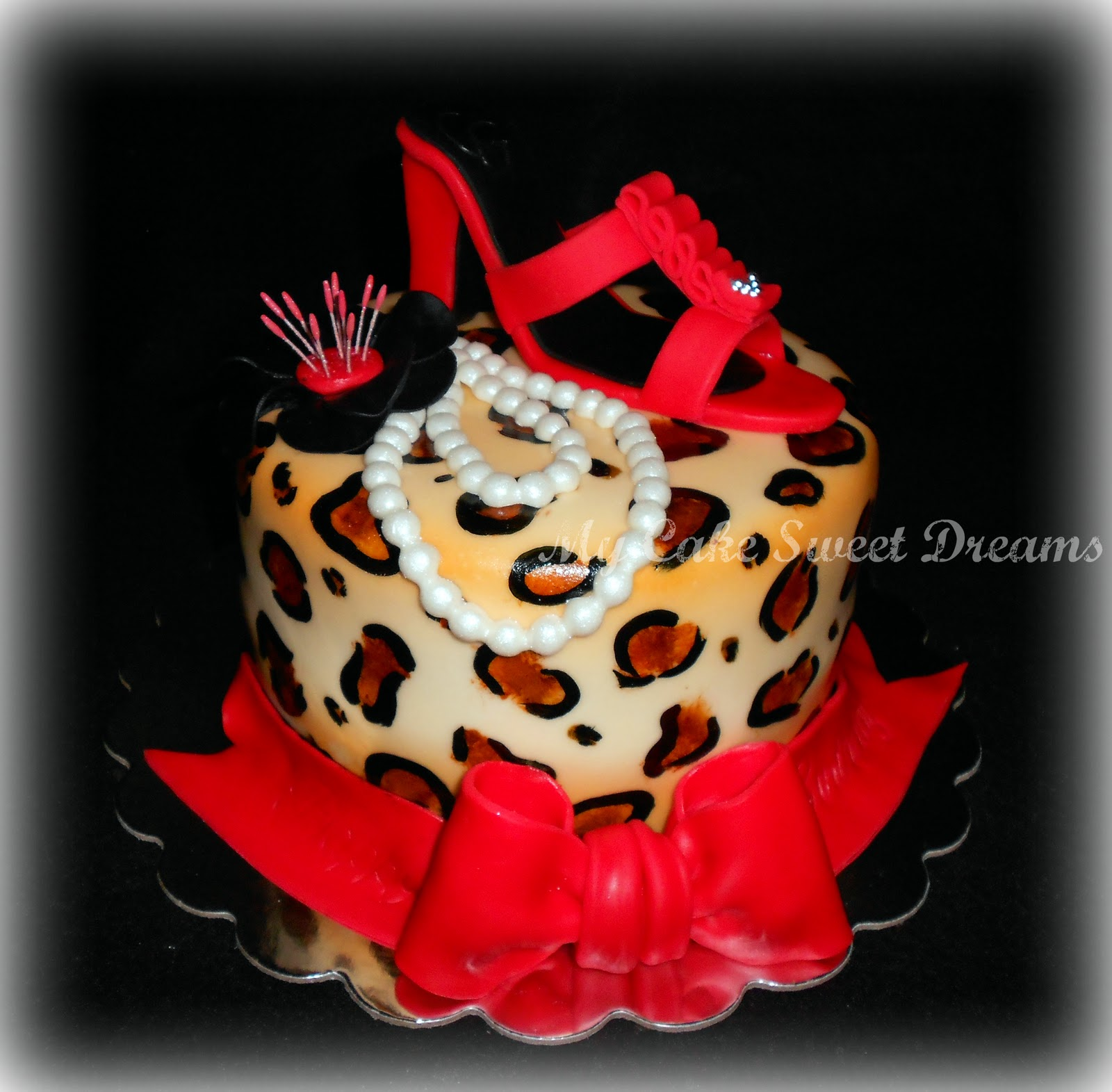 My Cake Sweet Dreams Leopard Cake With Red Shoe