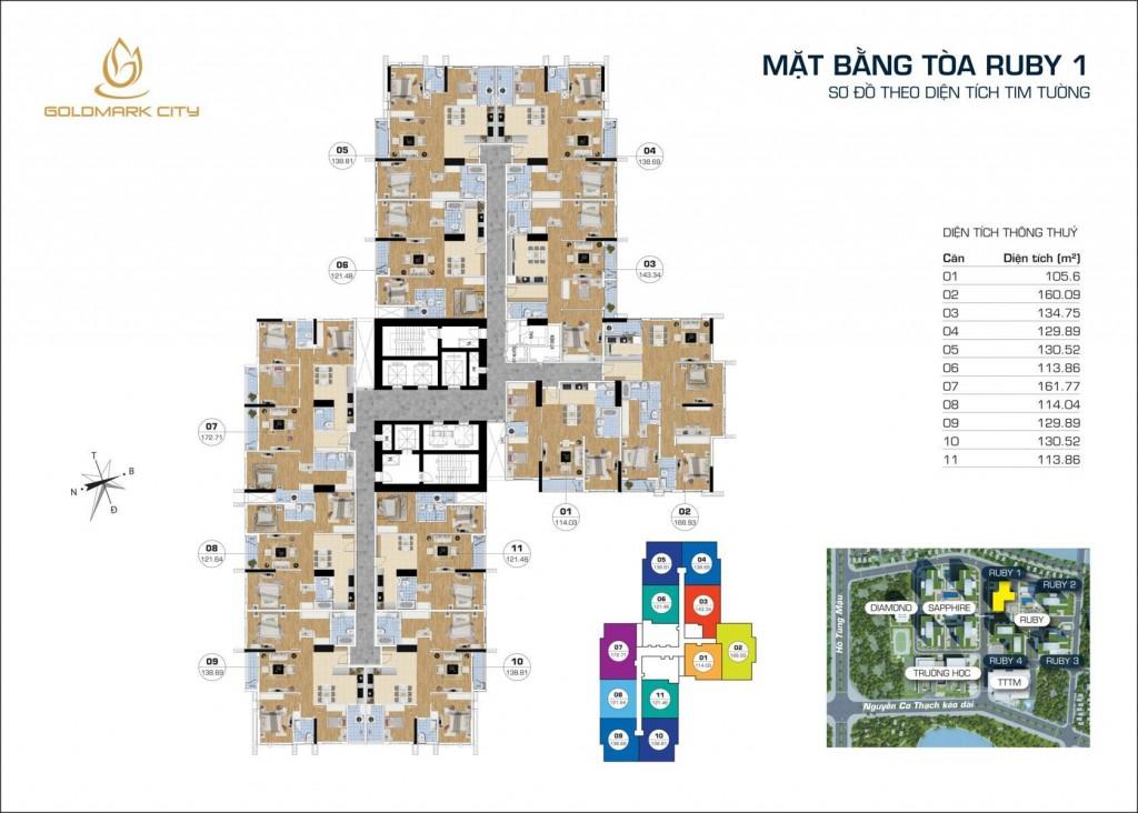 Thiết kế tổng thể tòa RUBY 1 dự án Goldmark City 136 Hồ Tùng Mậu: