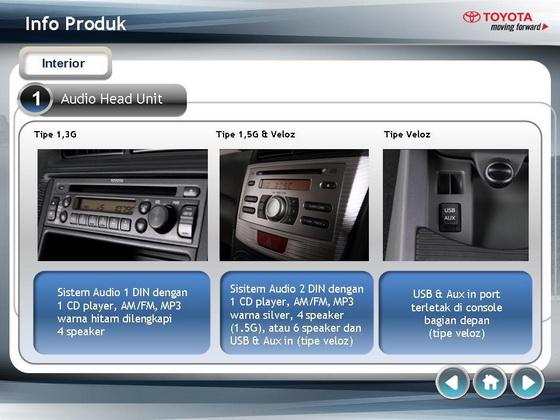 Interior Grand New Avanza Veloz 1.5 Pilih Atau Great Xenia All 2012 Sistem Audi Dengan 1 Cd Player Am Fm Mp3 Dilengkapi 4 Speaker Tipe 5 G 6 Dan Usb Aux In Untuk