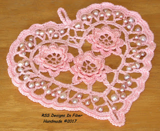 Pale Pink Irish Crochet Heart in Threads by Ruth Sandra Sperling - RSS Designs In Fiber