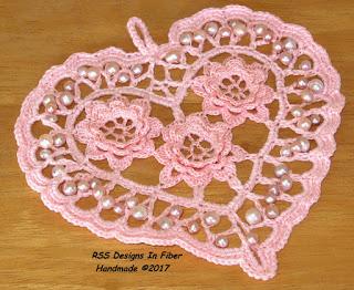 Pale Pink Irish Crochet Heart in Threads by Ruth Sandra Sperling - RSS Designs In Fiber