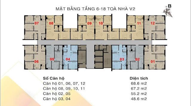 Mặt bằng tòa V2 The Vesta Tầng 6-18