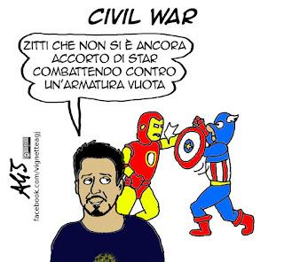 Captain America, iron man, civil war, cinema, spettacolo, umorismo, vignetta