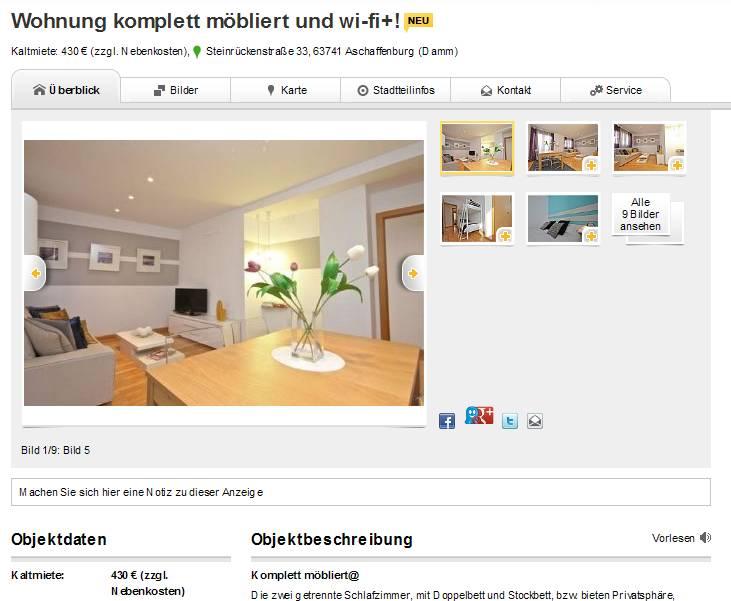 wohnung komplett m bliert und wi fi steinr ckenstra e 33 63741. Black Bedroom Furniture Sets. Home Design Ideas