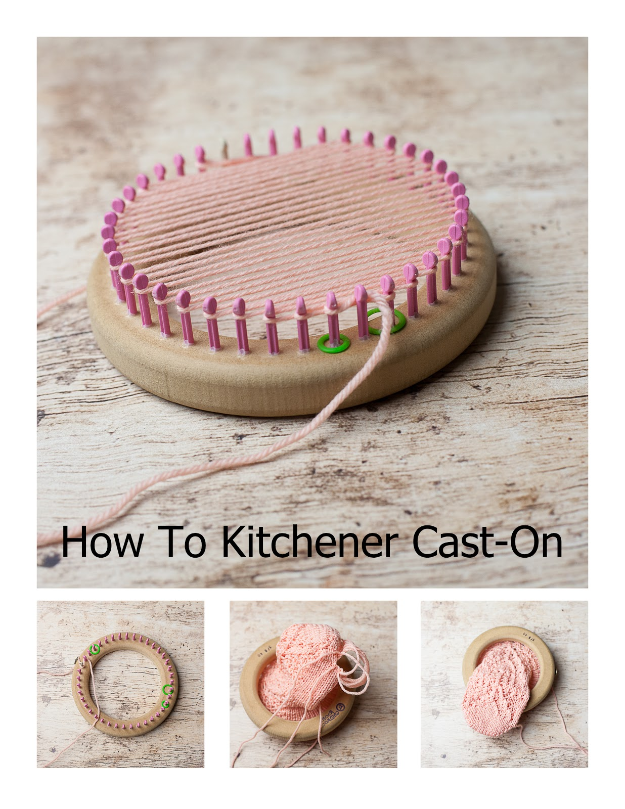 Kitchener cast on, loom knitting, loom, how to loom knit, tutorials, pictorials, Kitchener Stitch, Kitchener seam, Toe-up socks,