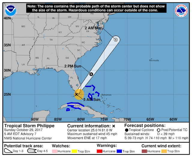 Tropical Storm Philippe Projected Path