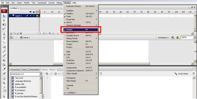 actionscript 3 di adobe flash cs3 action panel