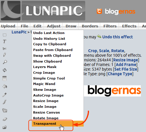 Cara Menjadikan Background Logo Transparant di LunaPic