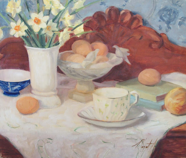 easter, daffodils, margaret aycock oil painting tulsa eggs