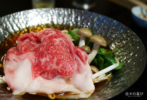 Sukiyaki de boeuf japonais (wagyu) et légumes