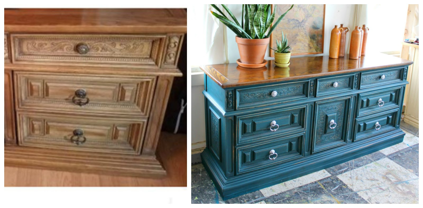 Heir and Space: A Vintage Oak Buffet in Tuscan Teal