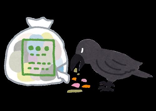 ゴミを漁るカラスのイラスト
