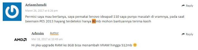 upgrade RAM ke 8GB bisa menambah VRAM hingga 512MB