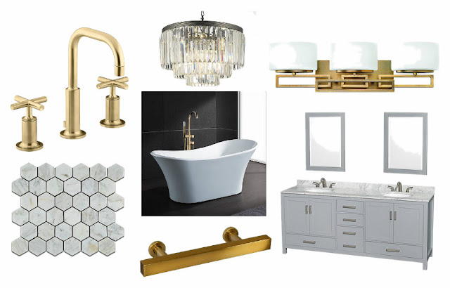 Master Bathroom, Brass, gold, antiqued gold, glass chandelier, marble, carrarra marble, gray, teal, double sink, vanity, 3D, 3D renderings, widespread faucet, free standing tub, ihomeregistry, interior design, interiors, bathroom