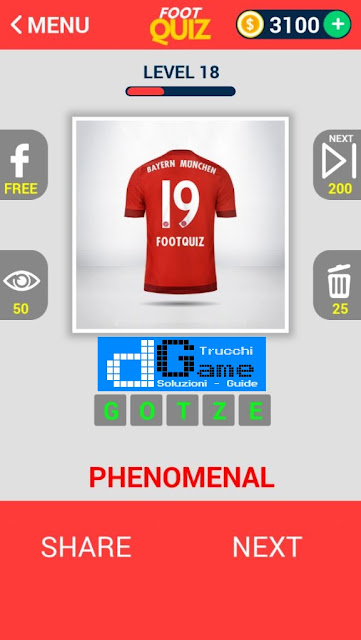 FootQuiz Calcio Quiz Football ( SHIRT) soluzione livello 11-20
