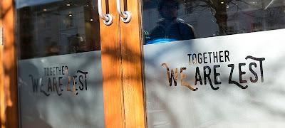 Zest shop doors with logo