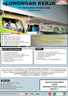 Informasi Lowongan Kerja Terbaru di PT. Indomarco Prismatama Cabang Surabaya Februari 2018