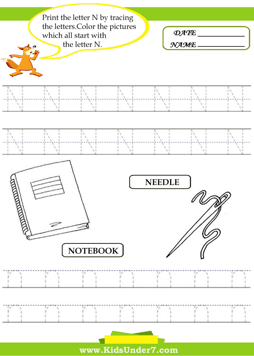 Letter N Worksheets Softschools Poemdocor