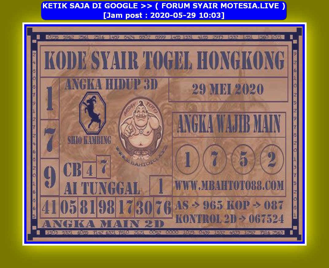 Kode syair Hongkong Jumat 29 Mei 2020 75