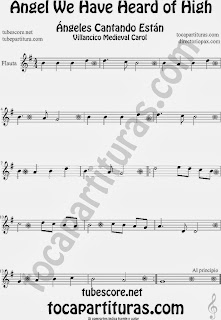 Partitura de para Flauta Travesera, flauta dulce y flauta de pico Villancico Christmas Carol Sheet Music for Flute and Recorder Music Scores