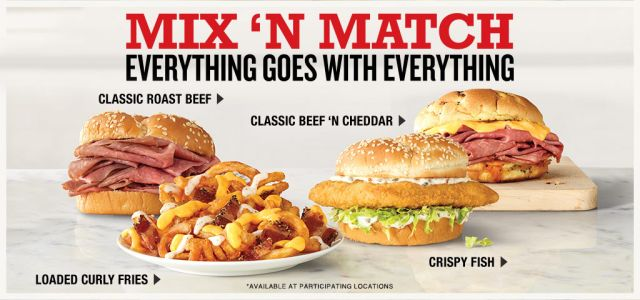 graphic relating to Printable Arbys Coupons named 2 for $5 Blend N Sport Bundle Back again at Arbys Manufacturer Having
