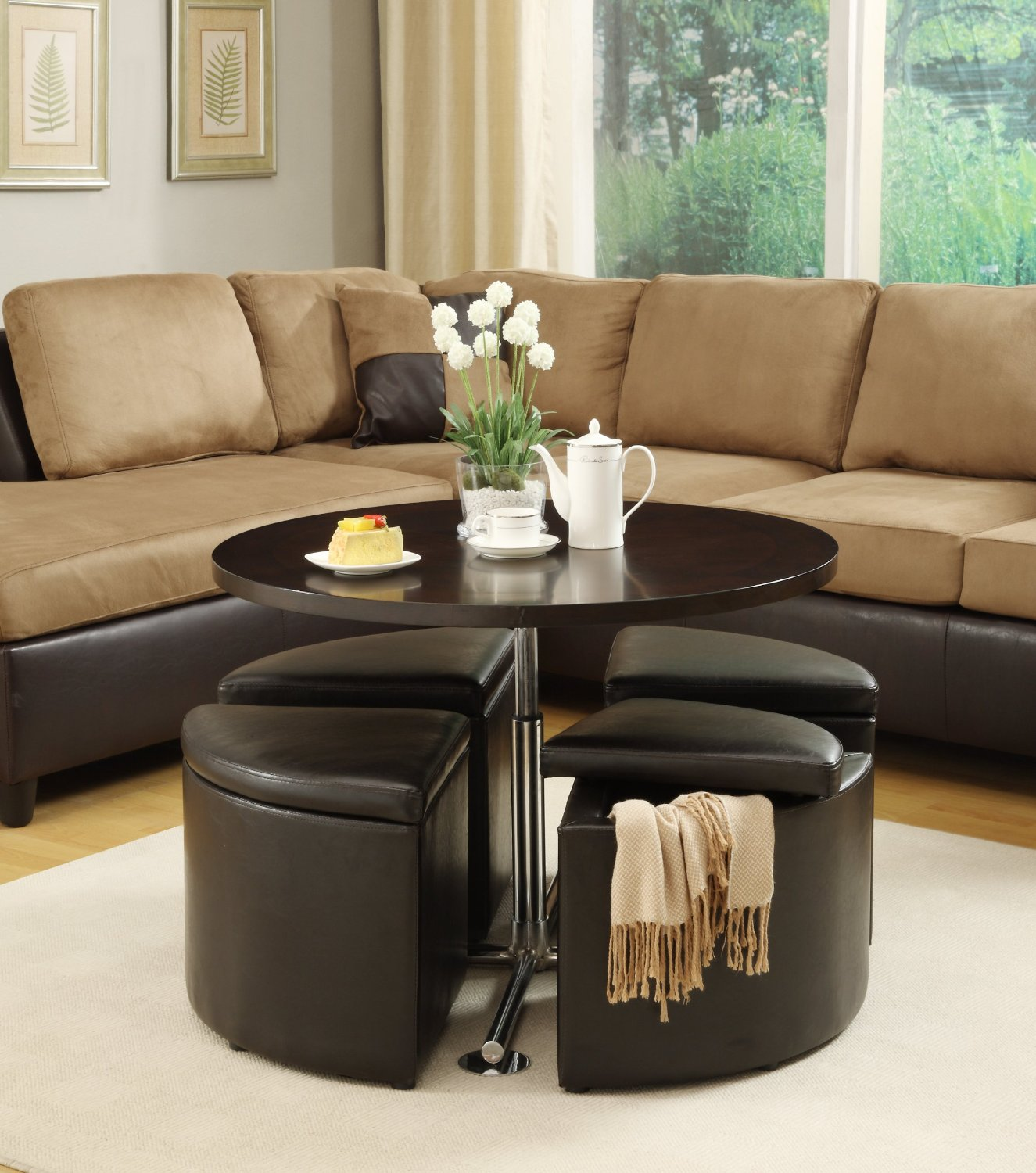Adj Height Round Coffee Table With 4 Wedge Storage Ottomans Underneath