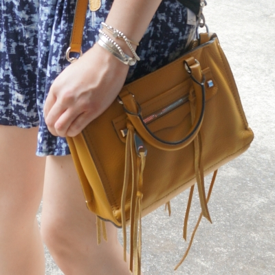 Blue printed wide leg shorts, yellow Rebecca Minkoff micro Regan satchel | AwayFromTheBlue