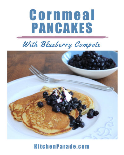 Cornmeal Pancakes with Blueberry Compote ♥ KitchenParade.com, my simple recipe for cornmeal pancakes with a simple blueberry compote.