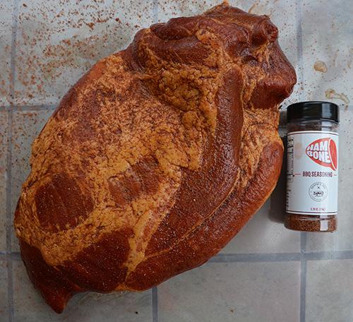 Smithfield smoked boneless ham with Gentry's Ham Bone BBQ Seasoning